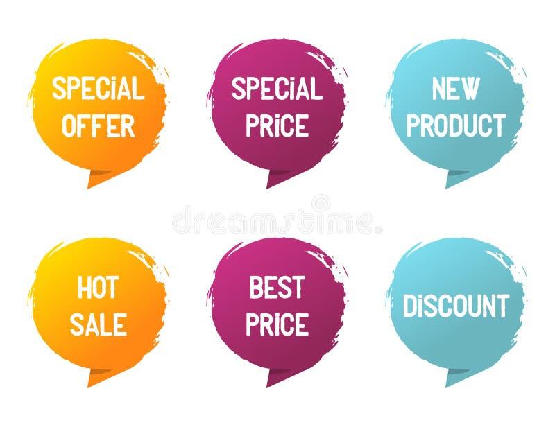 Sztandar etykietka Oferta specjalna i specjalna cena, nowy produkt, gorąca sprzedaż, najlepszy cena, dyskontowy tekst Nowo?ytny s obraz royalty free
