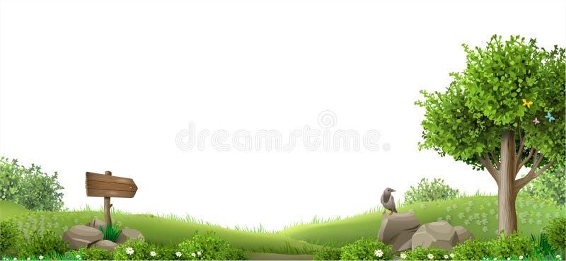 Sztandar fantazi naturalny krajobraz zdjęcie stock