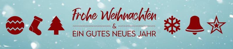 Sztandar - Frohe Weihnachten und ein gutes neues Jahr - Wesoło boże narodzenia i Szczęśliwy nowy rok w niemiec royalty ilustracja