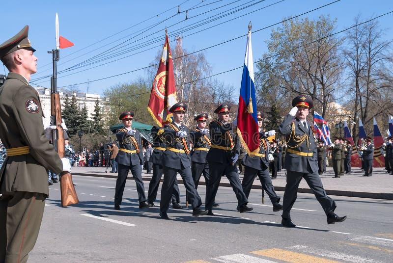 Sztandar grupa policja na paradzie zdjęcia stock