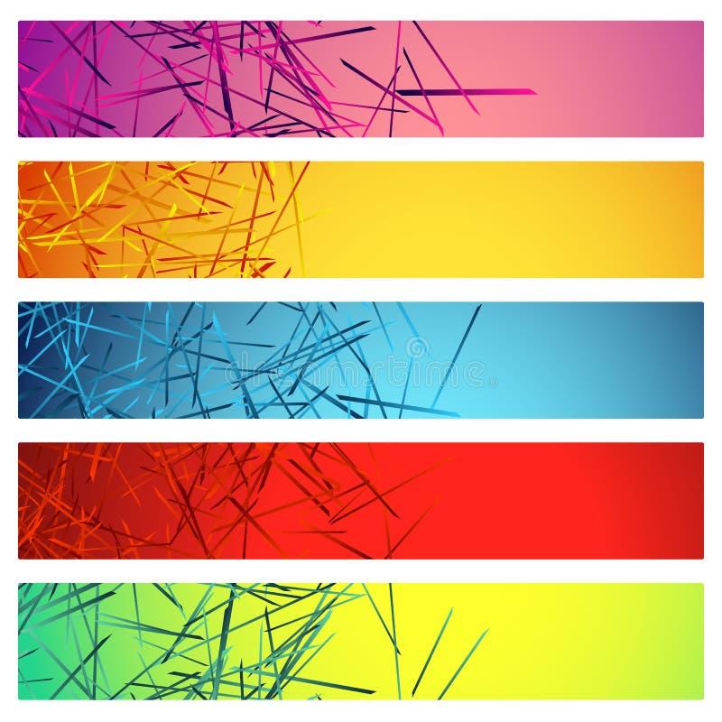 Sztandar, guzików tła z abstrakcjonistycznymi przypadkowymi, chaotycznymi liniami, ilustracja wektor