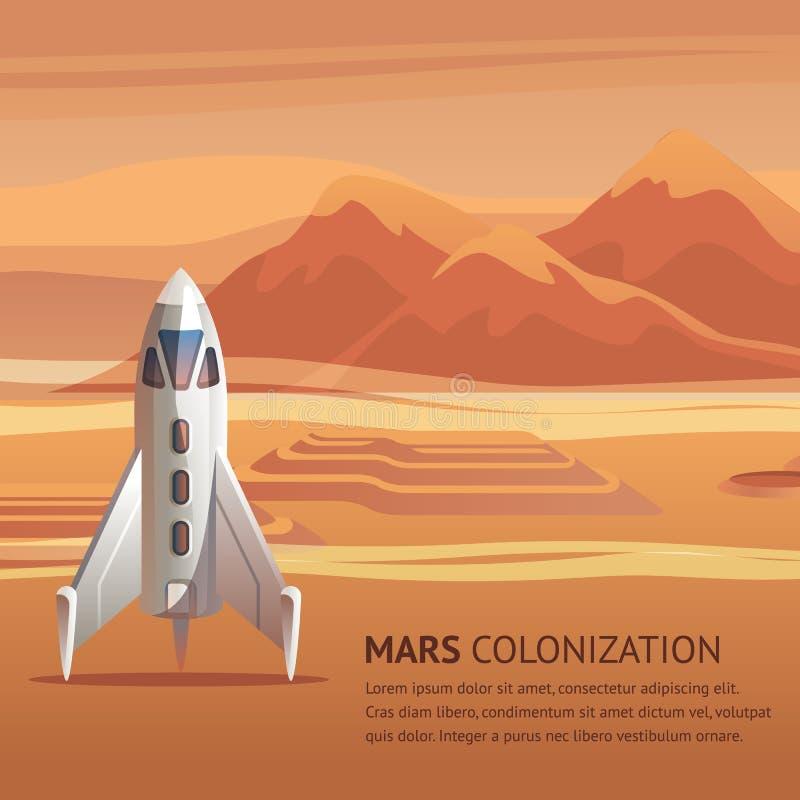 Sztandar Ilustracyjna Astronautyczna rakieta na Nawierzchniowym Mars ilustracja wektor