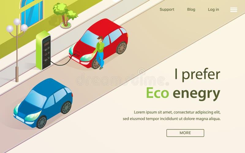 Sztandar jest Mną Pisze Woli Eco Enegry kreskówkę ilustracji