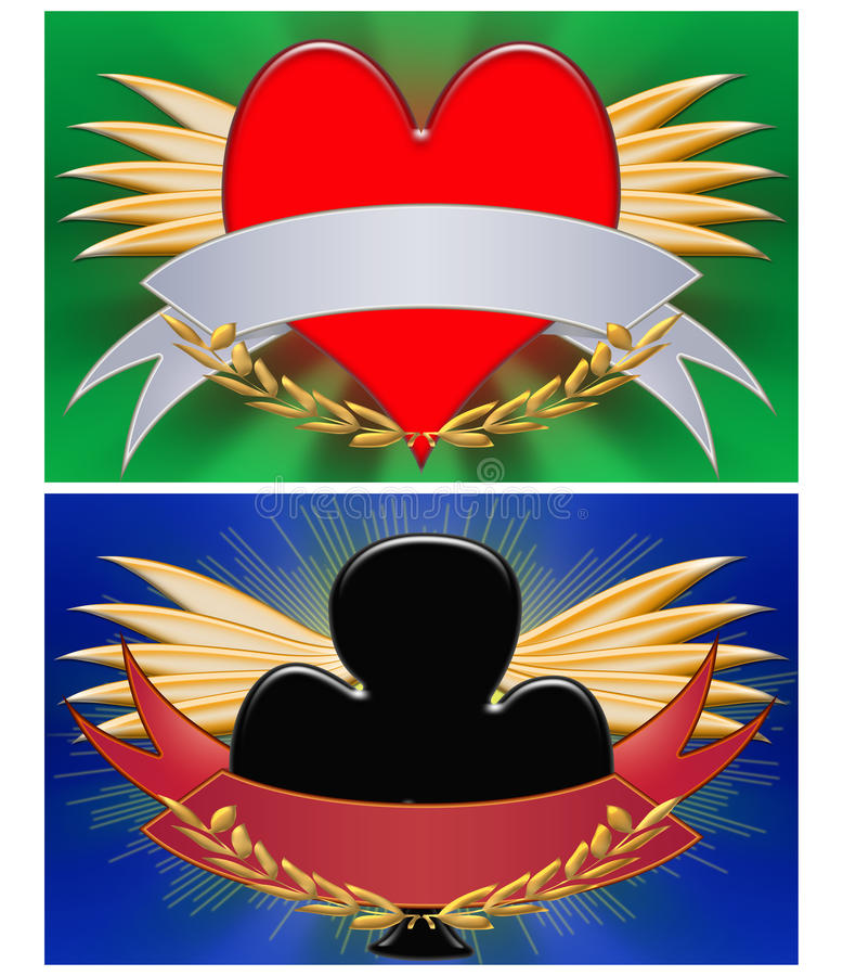 sztandar kwitnie serca royalty ilustracja