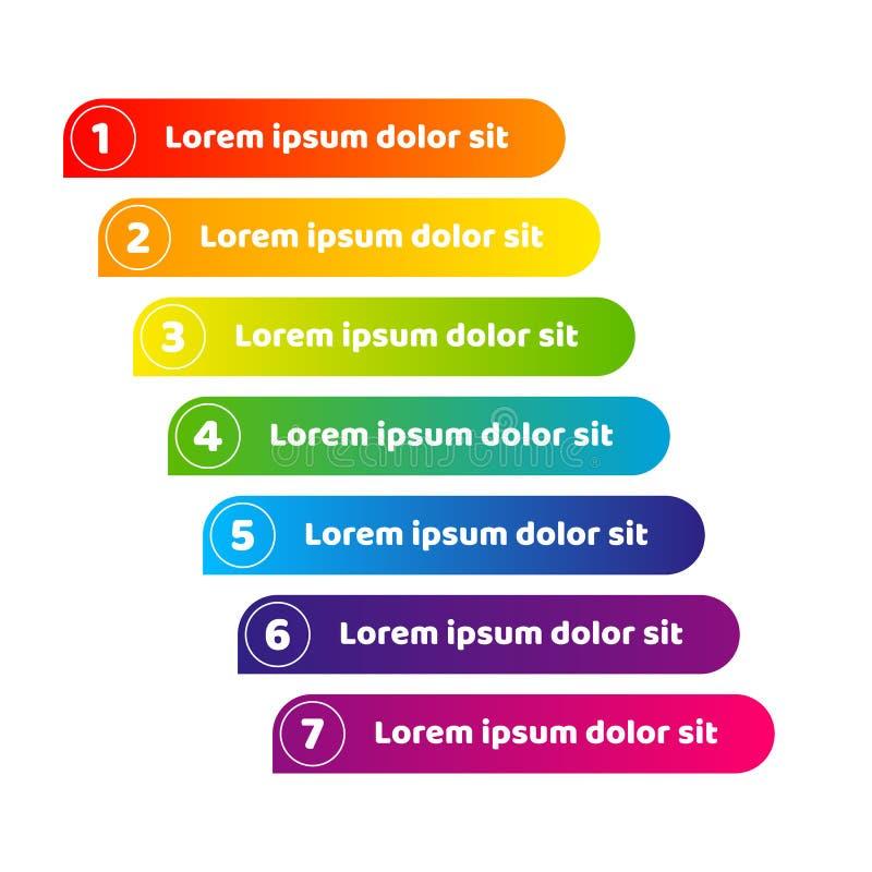 Sztandar linii lampas kolorowy gradient liczby guzika projekta element dla infographics sztandaru reklamowej wizytówki Jaskrawej ilustracja wektor