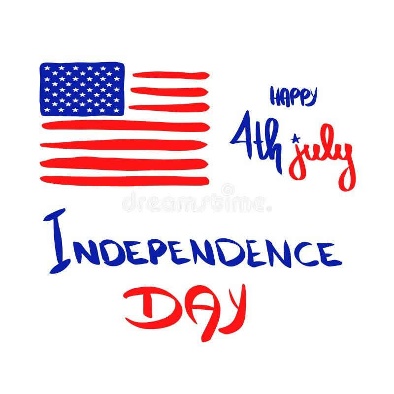sztandar lipiec Szczęśliwy 4th Lipa usa dnia niepodległości kartki z pozdrowieniami wakacyjny wektor Patriotyczny ręki literowani ilustracji