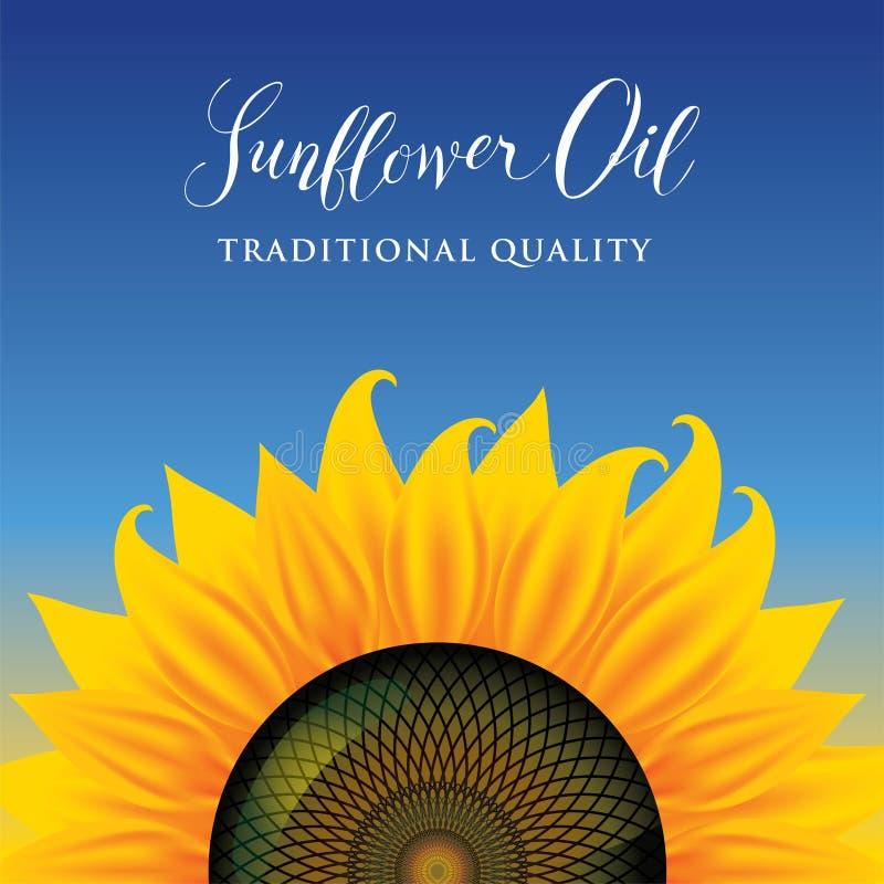 Sztandar lub etykietka dla słonecznikowego oleju z słonecznikiem ilustracja wektor