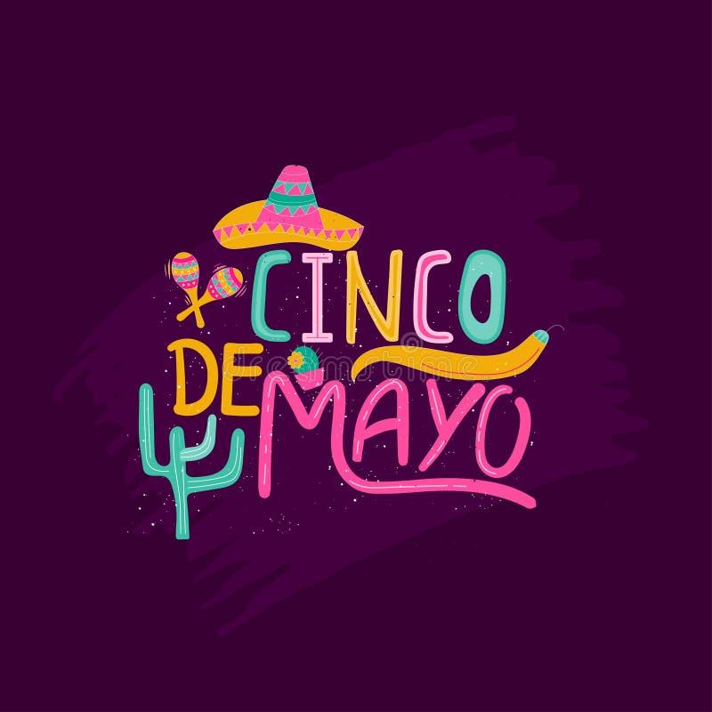 Sztandar lub karta dla Cinco de Mayo świętowania Wakacyjny plakatowy dowcip ilustracji