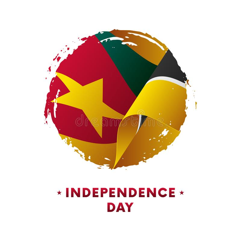 Sztandar lub plakat Mozambik dnia niepodległości świętowanie Machać flaga Mozambik, szczotkarski uderzenia tło Wektorowy illustra royalty ilustracja
