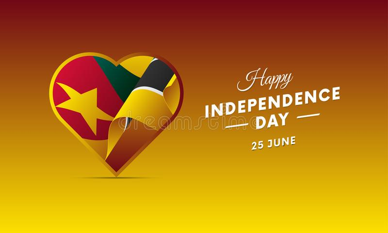 Sztandar lub plakat Mozambik dnia niepodległości świętowanie TARGET516_1_ Flaga również zwrócić corel ilustracji wektora ilustracja wektor