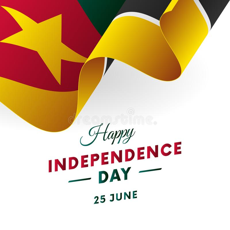 Sztandar lub plakat Mozambik dnia niepodległości świętowanie TARGET516_1_ Flaga również zwrócić corel ilustracji wektora ilustracji