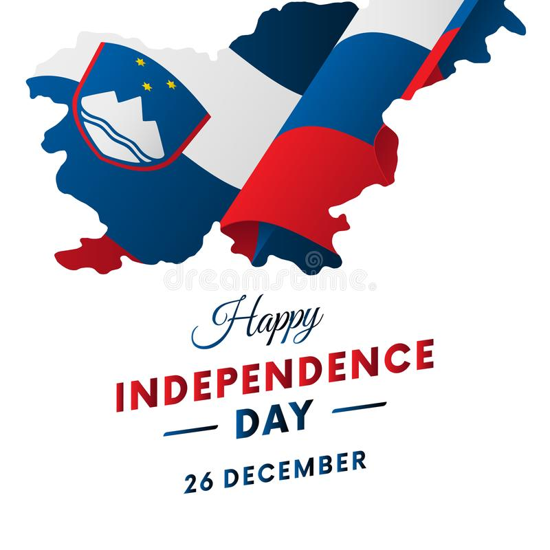 Sztandar lub plakat Slovenia dnia niepodległości świętowanie Slovenia mapa TARGET516_1_ Flaga również zwrócić corel ilustracji we royalty ilustracja