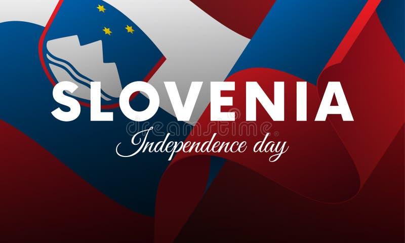Sztandar lub plakat Slovenia dnia niepodległości świętowanie TARGET516_1_ Flaga również zwrócić corel ilustracji wektora ilustracji