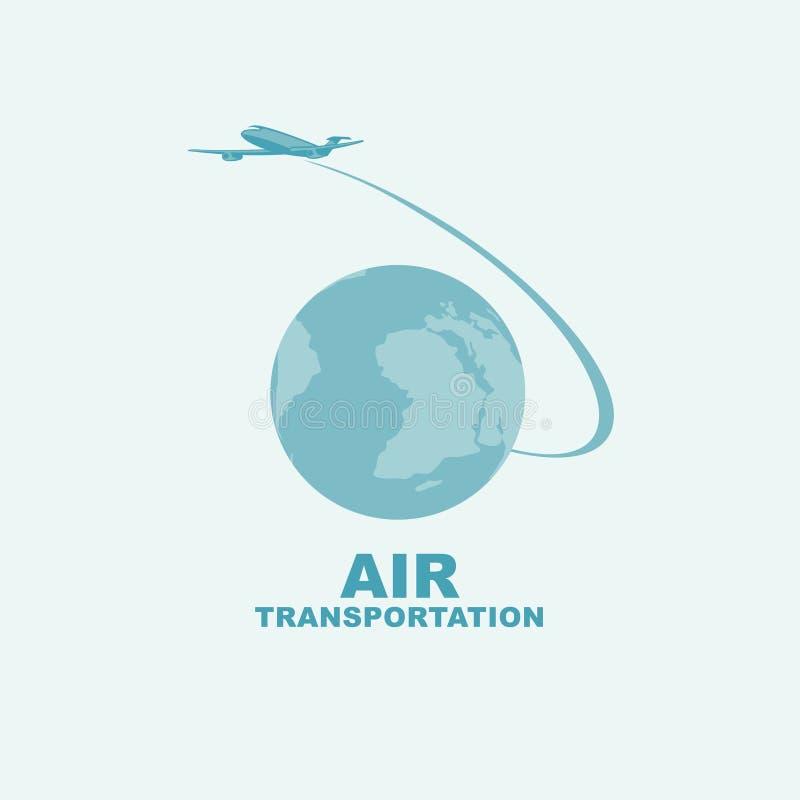 Sztandar na lotniczym transporcie z planety ziemią ilustracja wektor