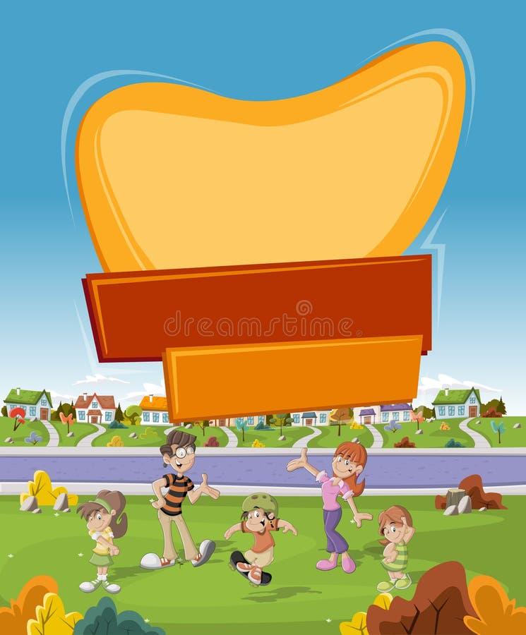 Sztandar nad kreskówki rodziną w przedmieścia sąsiedztwie ilustracji