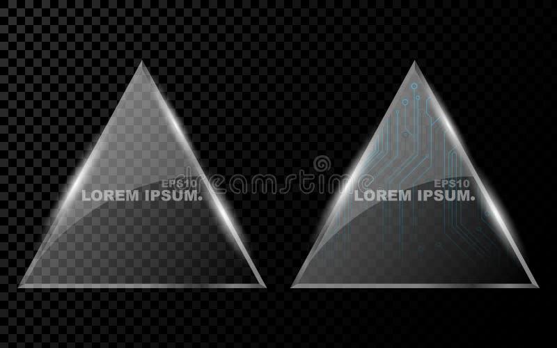 Sztandar od płaskiego realistycznego trójboka z i od ostrymi kątami, sześciokątem, olśniewającego, jaskrawego 3d szkła na, ciemni royalty ilustracja