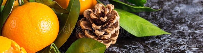 Sztandar pomarańczowi tangerines z zielenią opuszcza na ciemnym tle z kopii przestrzenią Obrani mandarynka plasterki, ro?ki i obraz royalty free