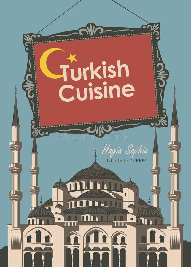 Sztandar restauracyjna Turecka kuchnia z Hagia Sophia ilustracja wektor