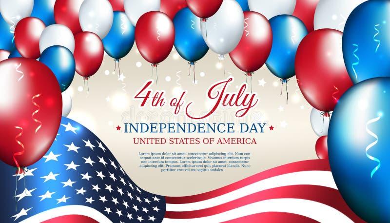 Sztandar 4th Lipa usa dzień niepodległości, wektorowy szablon z flagą amerykańską i barwiący balony na błękitnym olśniewającym gw royalty ilustracja