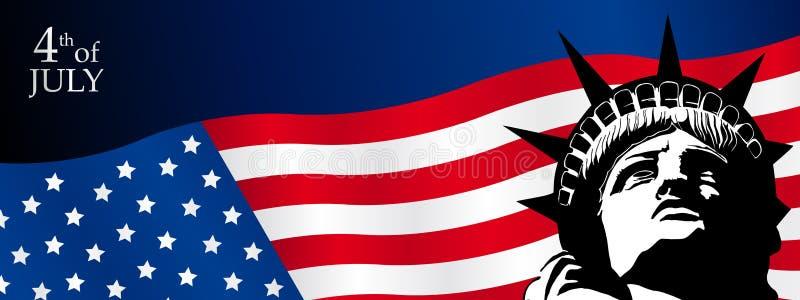 Sztandar twarz statua wolności nad Stany Zjednoczone Ameryka flaga z tekstem Lipiec 4th ilustracji