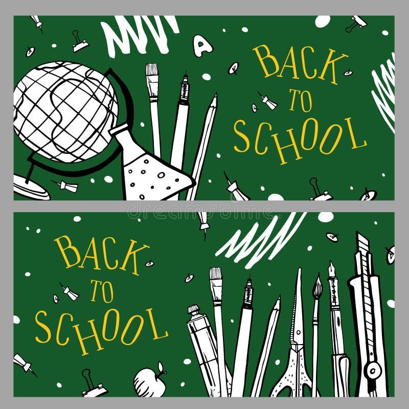 sztandar tylna szko?a Dwa składu na zielonym blackboard z szkolnymi rzeczami R?ka rysuj?ca nakre?lenie wektoru ilustracja royalty ilustracja