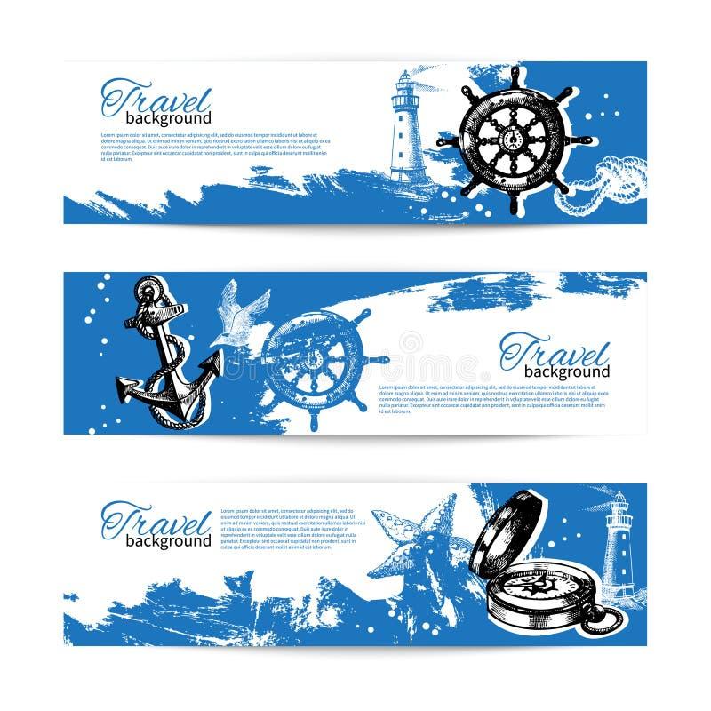 Sztandar ustawiający podróż rocznika tła Morze ilustracja wektor