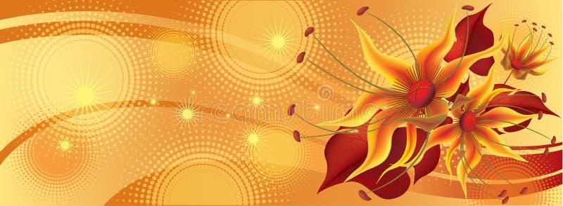 Sztandar z żółtymi kwiatami ilustracji