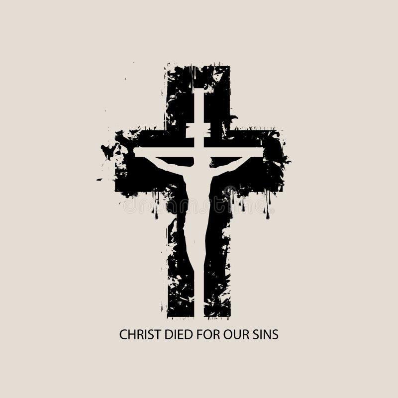 Sztandar z abstrakcjonistycznym czerń krzyżem, krzyżowaniem i ilustracji