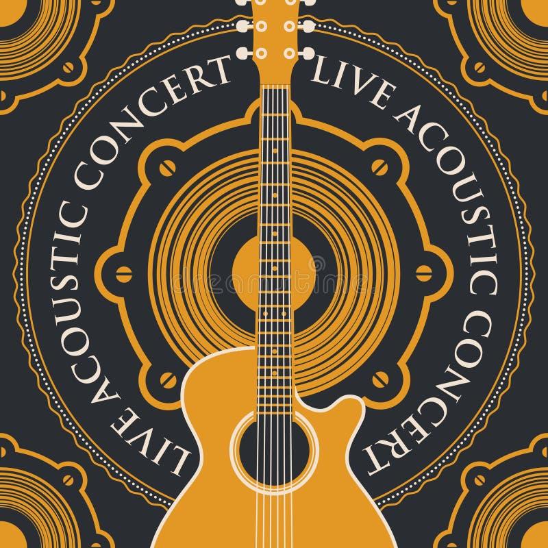 Sztandar z akustyczną gitarą i głośnikiem royalty ilustracja