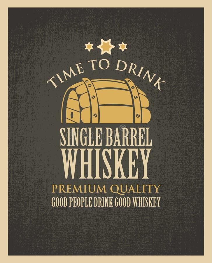 Sztandar z baryłką whisky w retro stylu royalty ilustracja