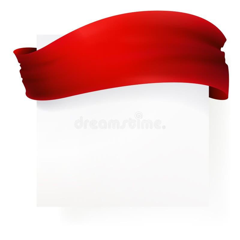 Sztandar z falowanie czerwieni faborkiem zdjęcie stock