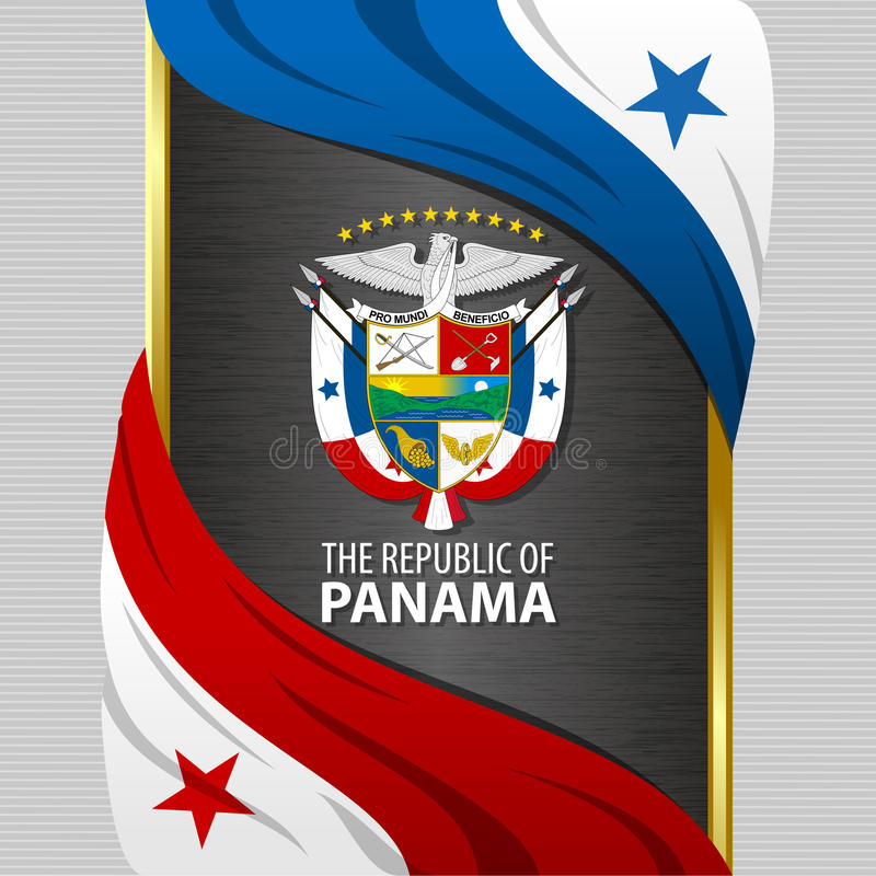 Sztandar z flaga i żakietem ręki Panama ilustracji