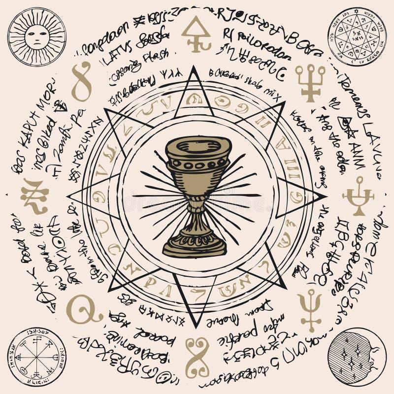 Sztandar z graalem i symbolami ezoterycznymi i wolnomularskimi royalty ilustracja