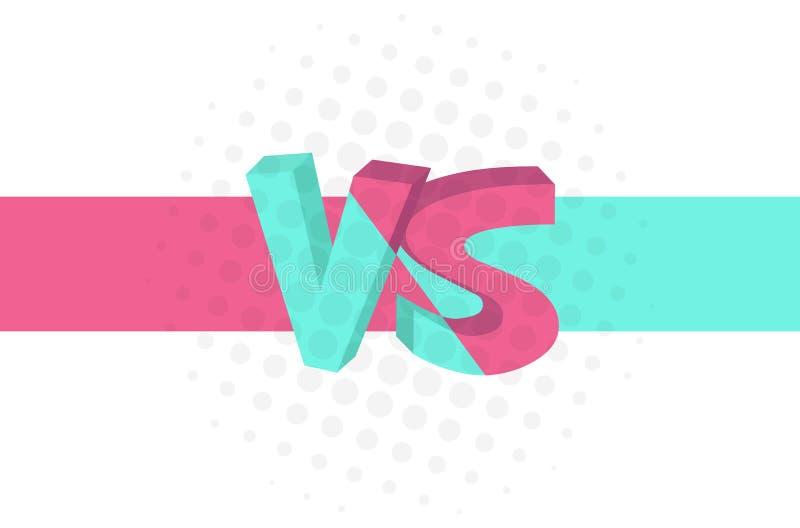 Sztandar z inskrypcją Versus VS turkus dalej menchii tło i, komiczny projekt również zwrócić corel ilustracji wektora ilustracji