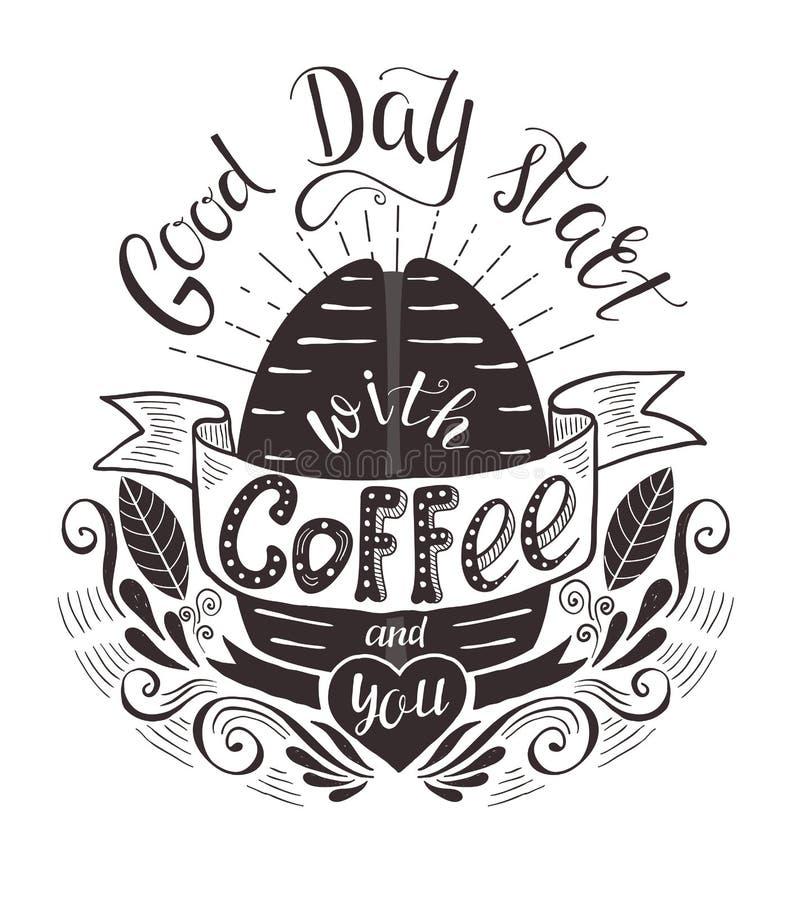 Sztandar z kawową fasolą i wycena royalty ilustracja