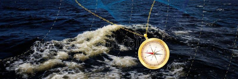 Sztandar z kompasem obrazy royalty free