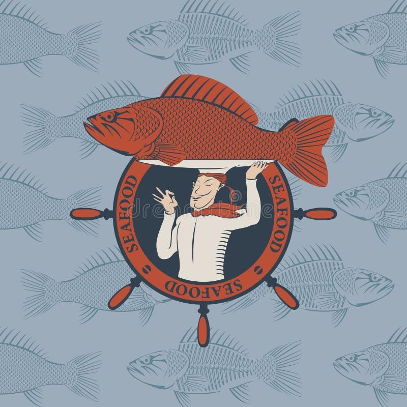 Sztandar z kucharzem i ryba na tacy ilustracji