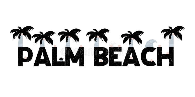 Sztandar z literowanie palmy plażą w scandinavian stylu również zwrócić corel ilustracji wektora ilustracji
