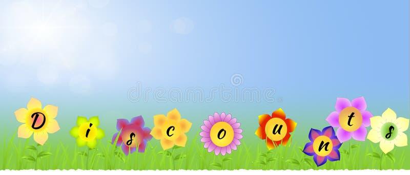 Sztandar z rabatami na kwiatach royalty ilustracja
