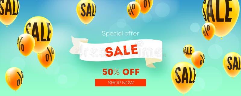 Sztandar z sprzedażą, obniżki oferta Balony lata w niebieskim niebie z znakiem procent Reklama sprzedaży akcje Elegancki wektor ilustracji