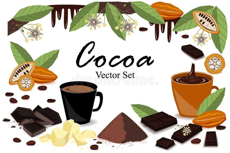 Sztandar z super karmową kakaową kolekcją Strąk, fasole, kakaowy masło, kakaowy trunek, czekolada, kakaowy napój, pluśnięcie i pr ilustracja wektor