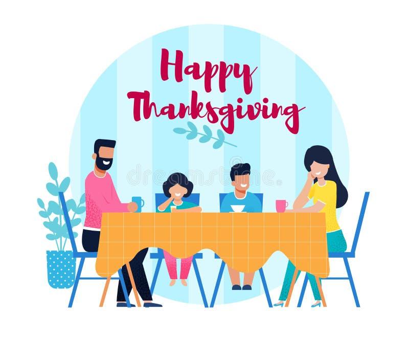 Sztandar z Szczęśliwym dziękczynienia życzeniem, rodziną i royalty ilustracja