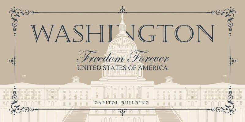 Sztandar z USA Capitol budynkiem w washington dc ilustracji