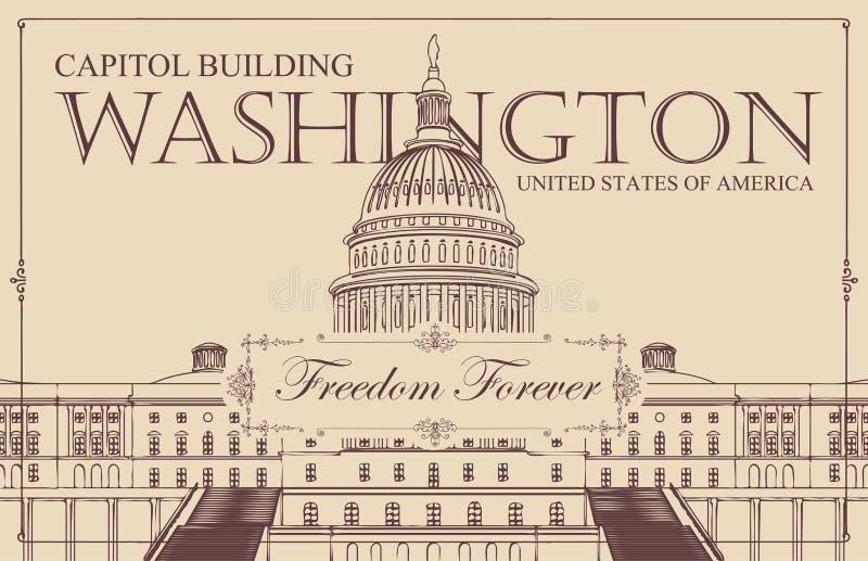 Sztandar z USA Capitol budynkiem w washington dc royalty ilustracja