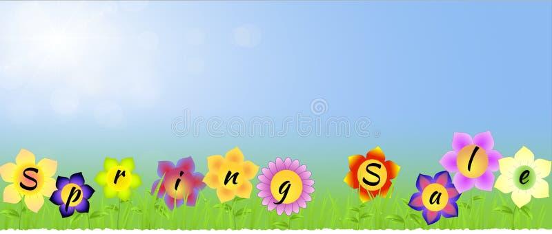 Sztandar z wiosny sprzedażą na kwiatach royalty ilustracja