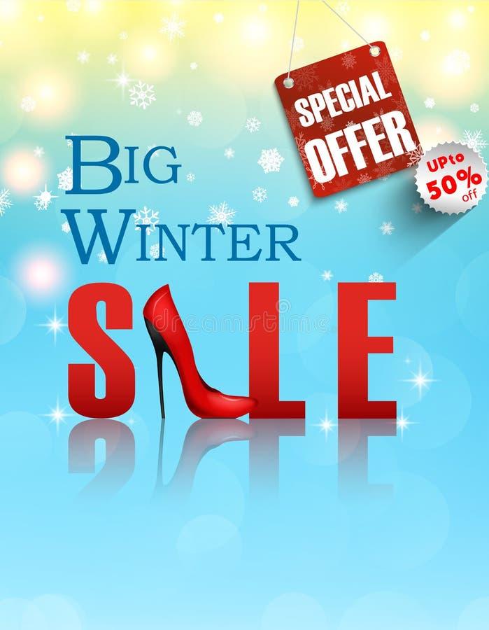 Sztandar zimy duża sprzedaż Pojęcie plakat ilustracja wektor
