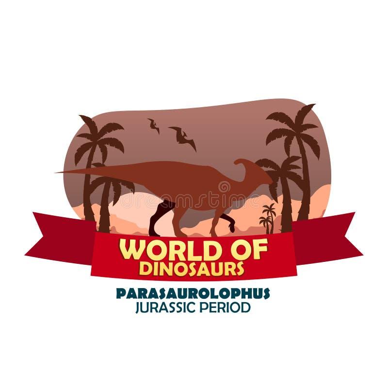 Sztandaru świat dinosaury prehistoryczny świat Parasaurolophus Cretaceous okres ilustracji