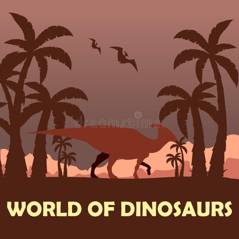 Sztandaru świat dinosaury prehistoryczny świat Parasaurolophus Cretaceous okres ilustracja wektor