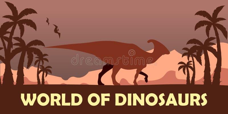 Sztandaru świat dinosaury prehistoryczny świat Parasaurolophus Cretaceous okres royalty ilustracja