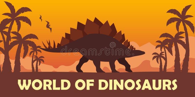 Sztandaru świat dinosaury prehistoryczny świat stegozaur Jurajski okres royalty ilustracja